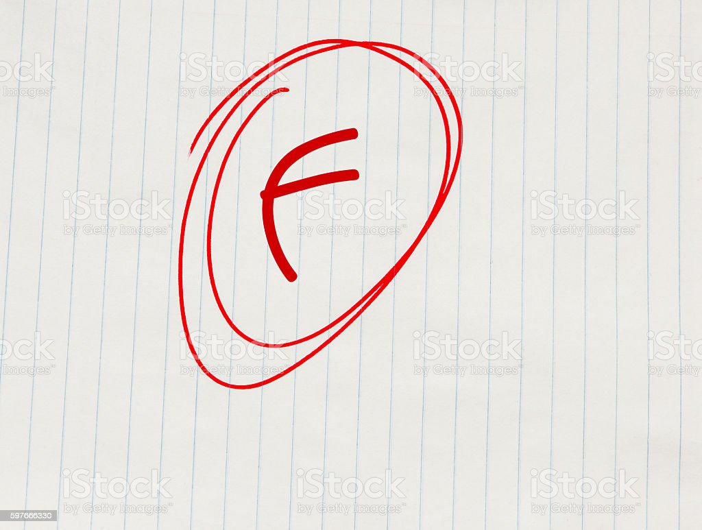 F (failing) grade written in red on notebook paper stock photo