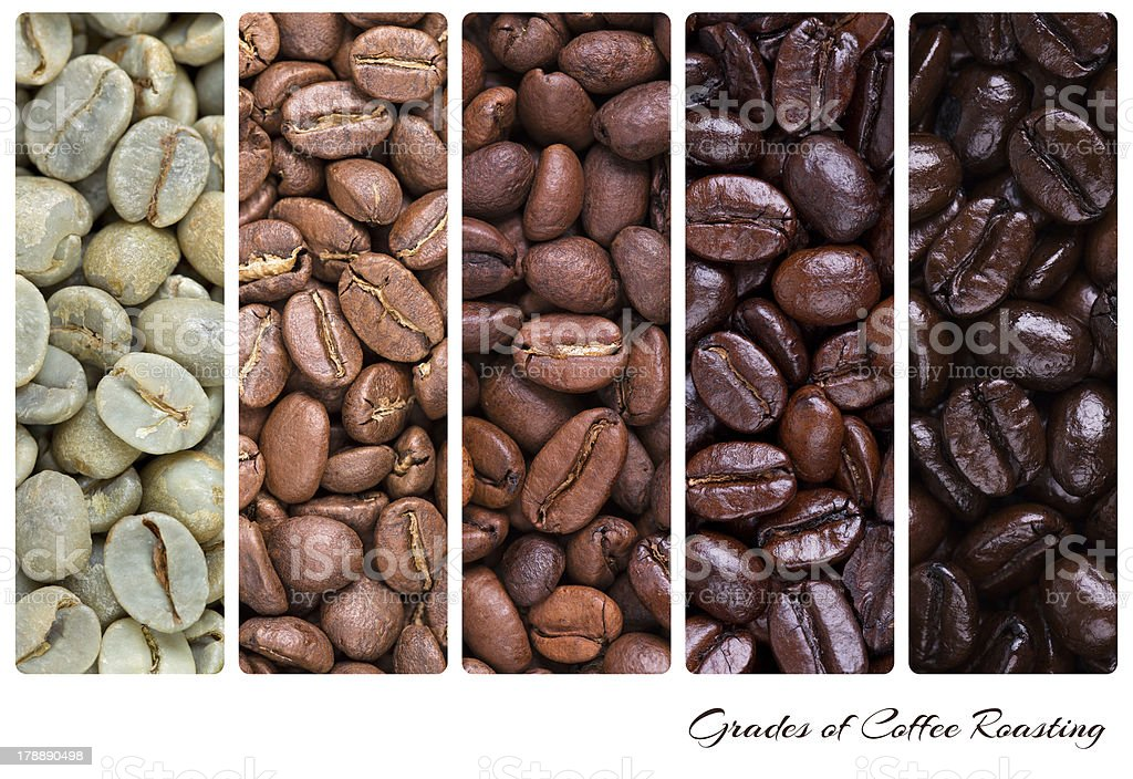 Grades of coffee roasting stock photo