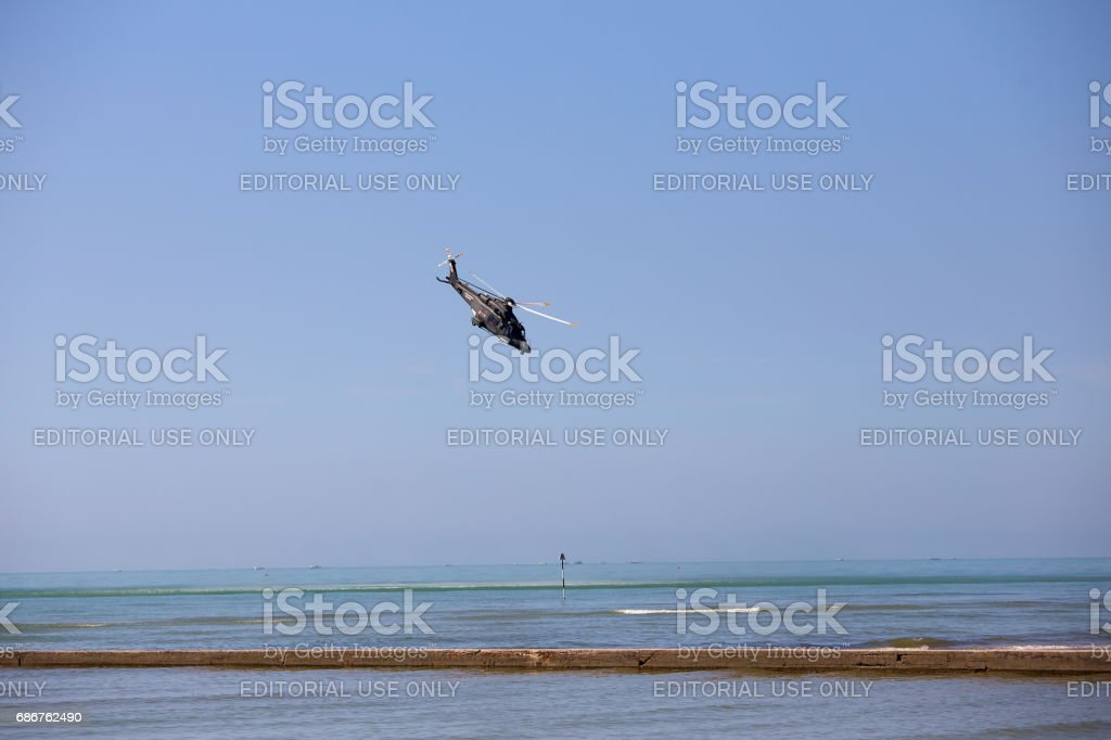 Grado, Italy - May, 14 2017: Air Show exhibition of military rescue helicopter stock photo