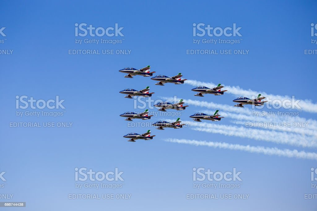 Grado, Italy - May, 14 2017: Frecce Tricolori Italian acrobatic aircraft team exhibition stock photo