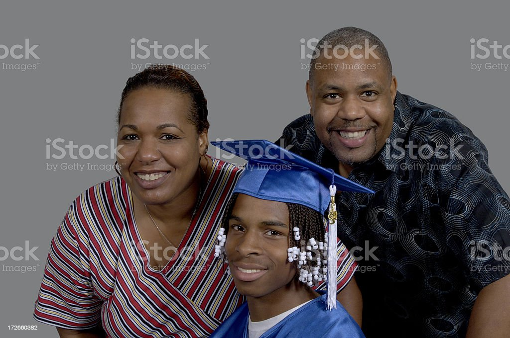 Graduate and parents royalty-free stock photo