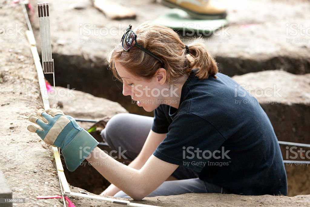 graduate archaeology student in Williamsburg, VA royalty-free stock photo