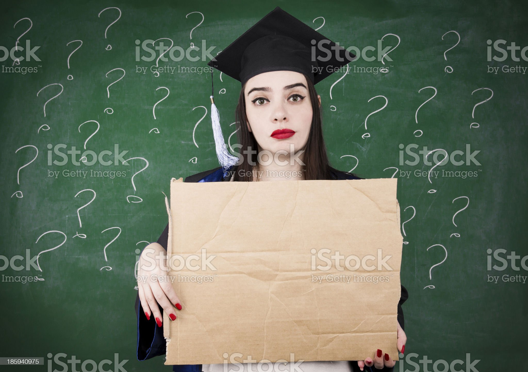 Graduate Girl With Paperboard royalty-free stock photo