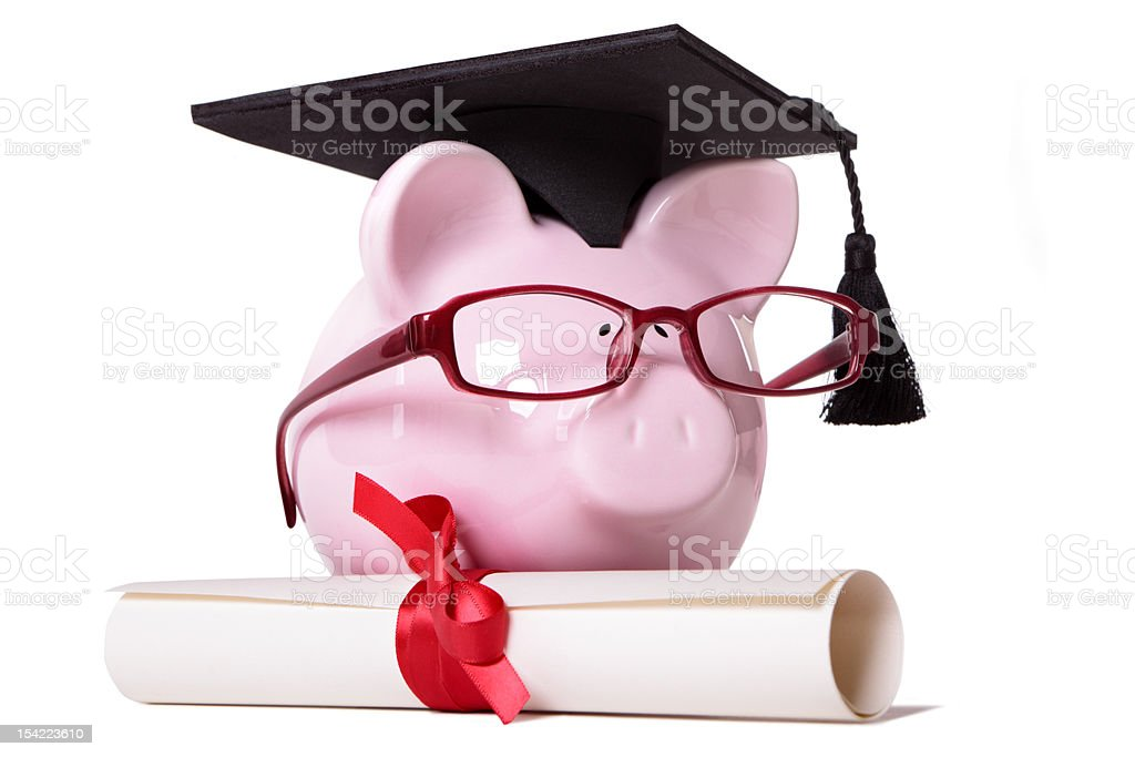 Graduate Piggy Bank royalty-free stock photo