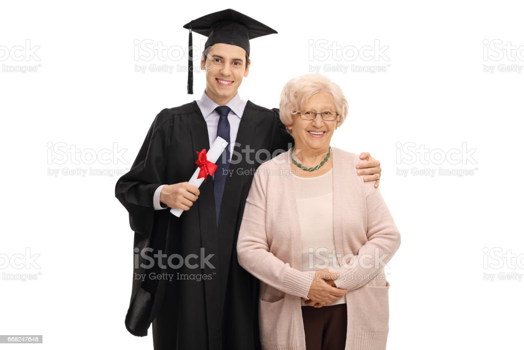 Graduate student and his grandmother looking at the camera stock photo