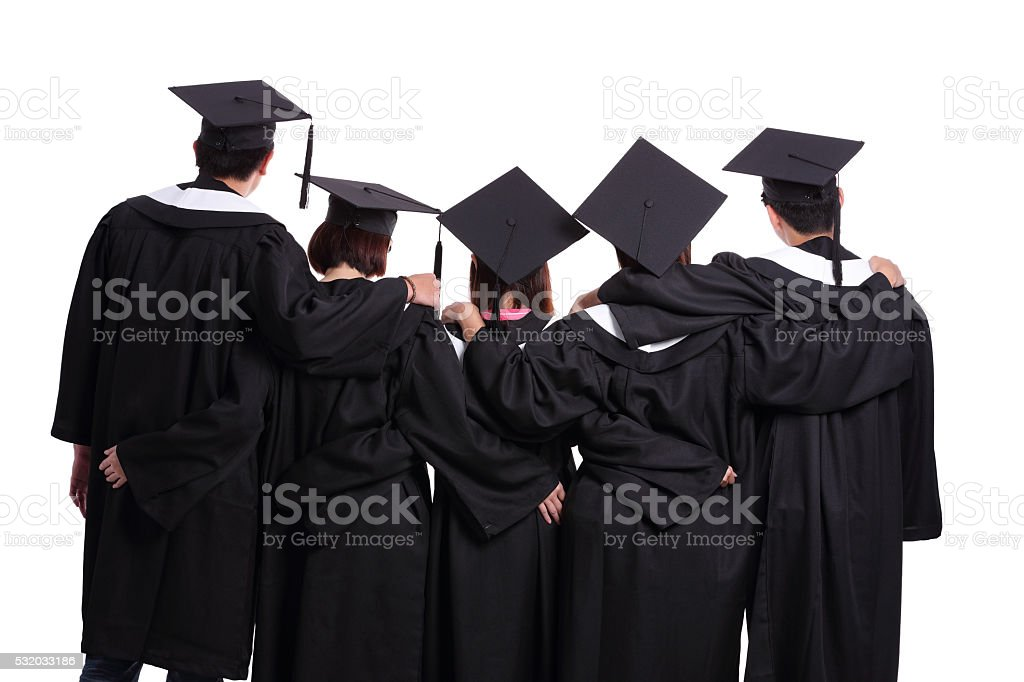 graduate students back view stock photo