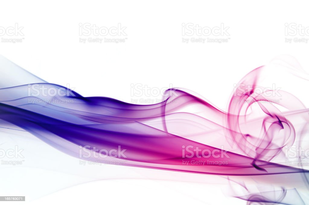 Graduated silky smoke from blue to pink stock photo