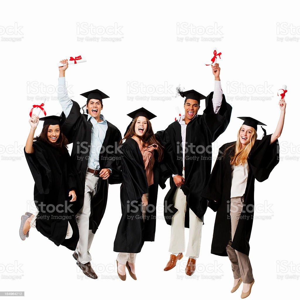 Graduates Celebrating - Isolated royalty-free stock photo