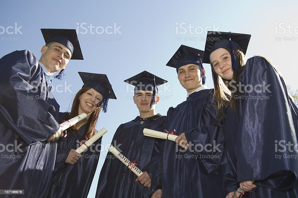 Graduates from low angle royalty-free stock photo