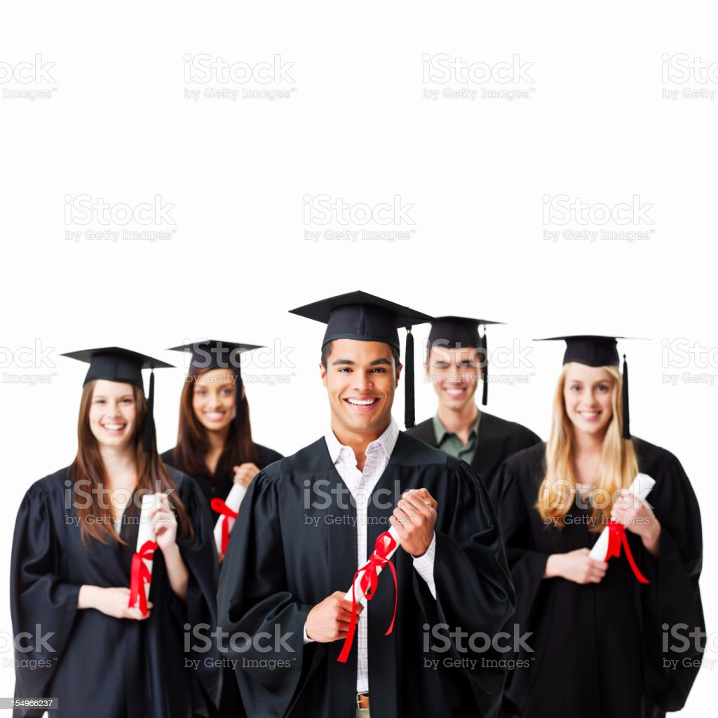 Graduates Holding Diplomas - Isolated royalty-free stock photo