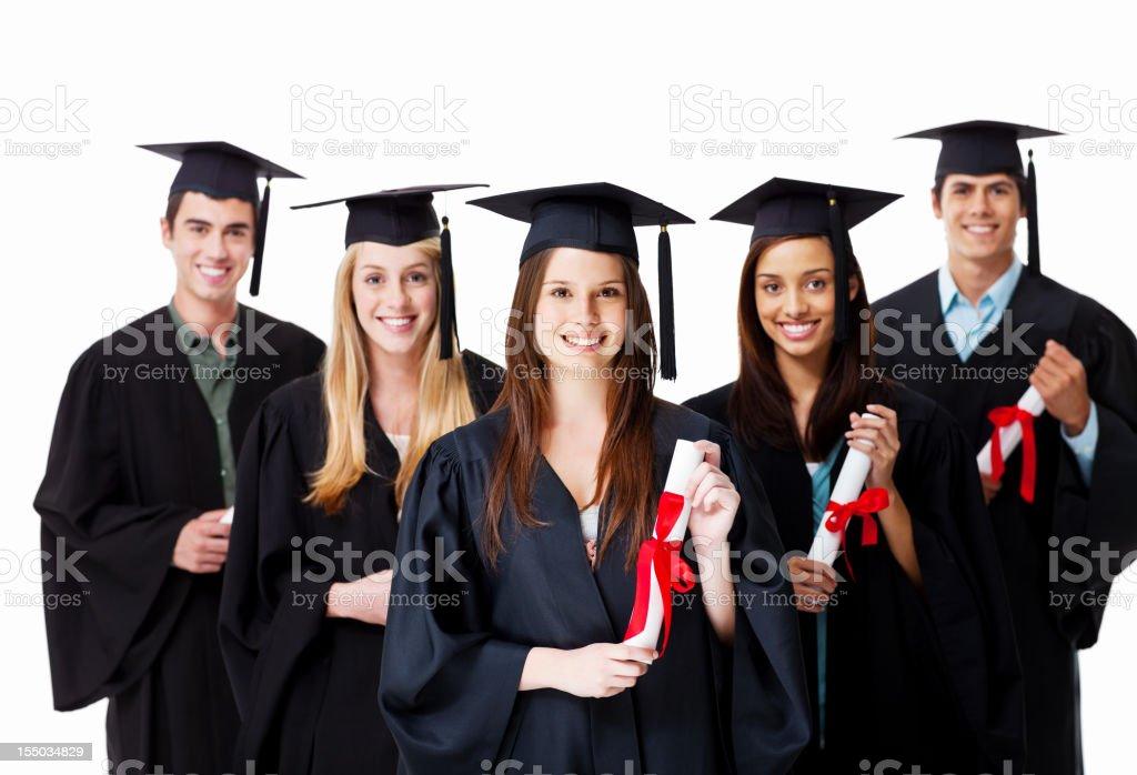 Graduates Holding Their Diplomas royalty-free stock photo