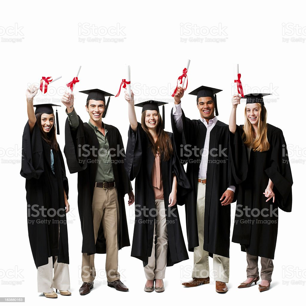 Graduates Holding Up Diplomas - Isolated royalty-free stock photo