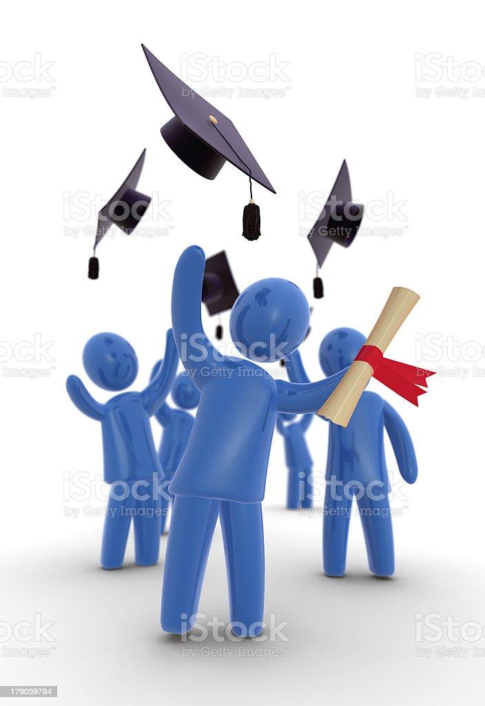 Graduates throwing hat stock photo