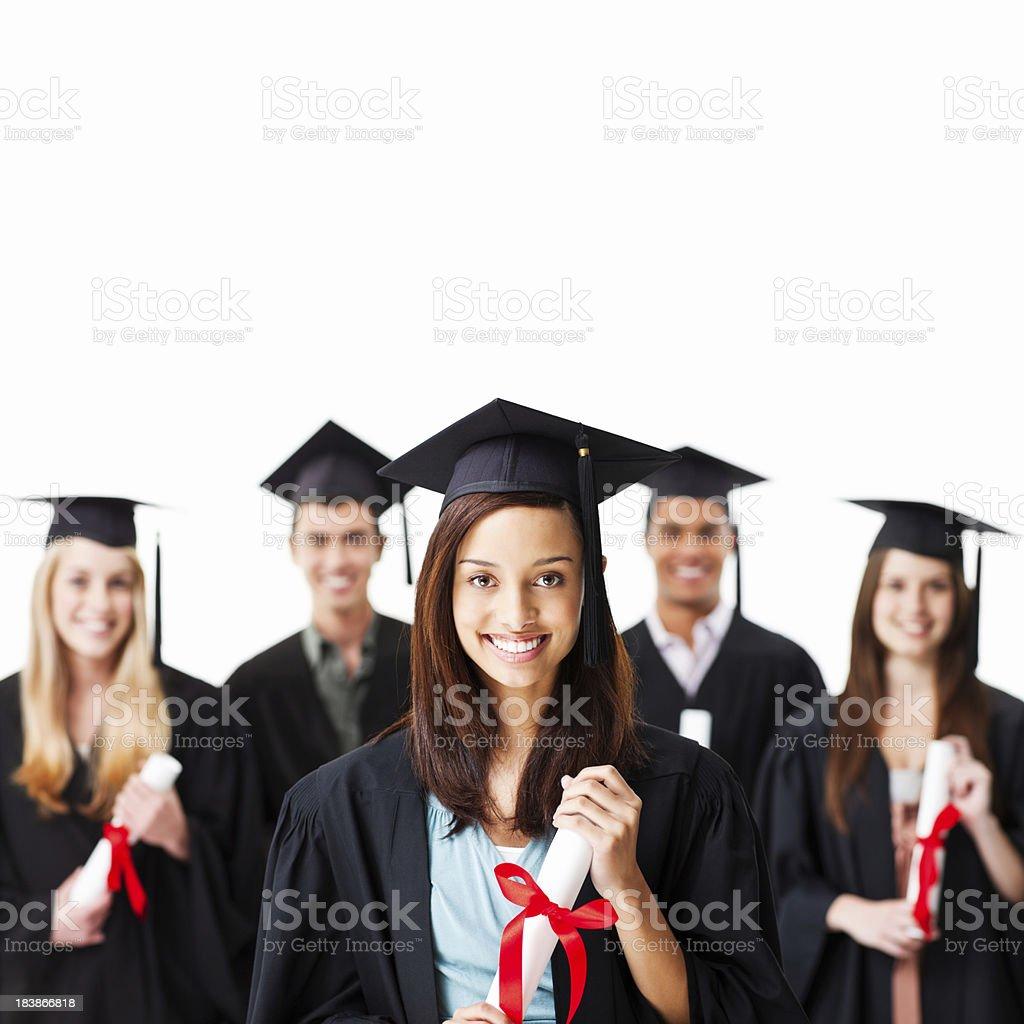 Graduates With Diplomas royalty-free stock photo