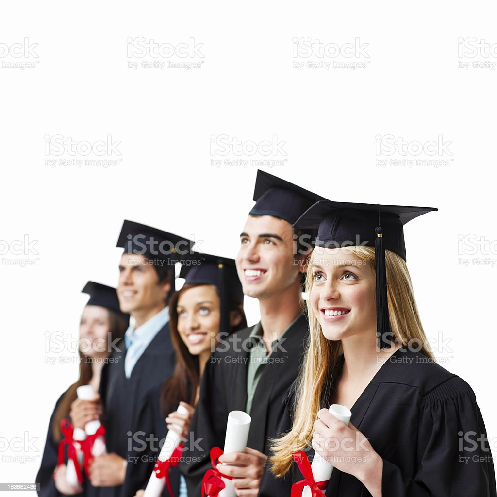 Graduates With Their Diplomas - Isolated royalty-free stock photo