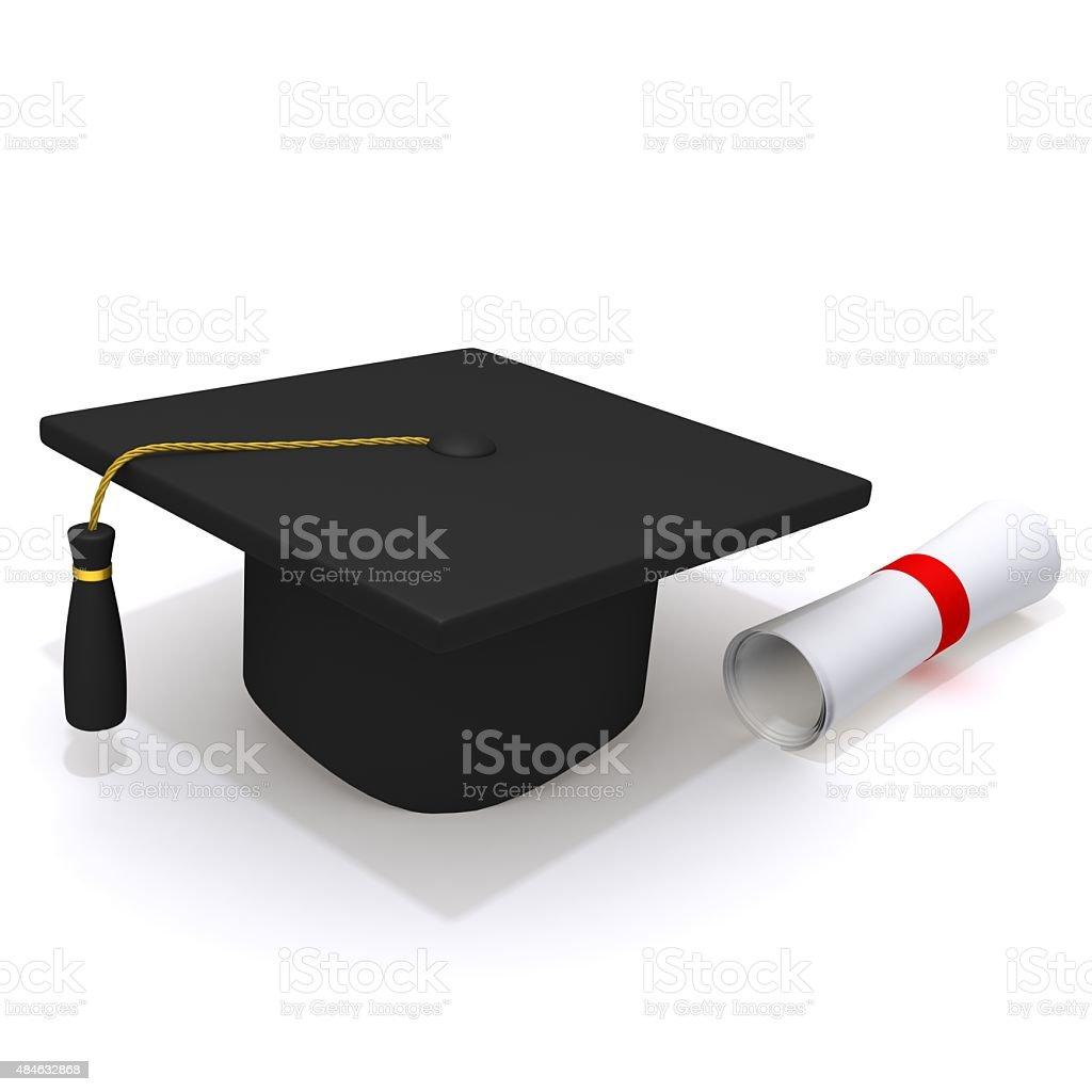 Graduation Cap and Diploma stock photo
