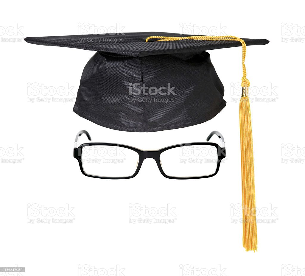 Graduation cap and glasses royalty-free stock photo
