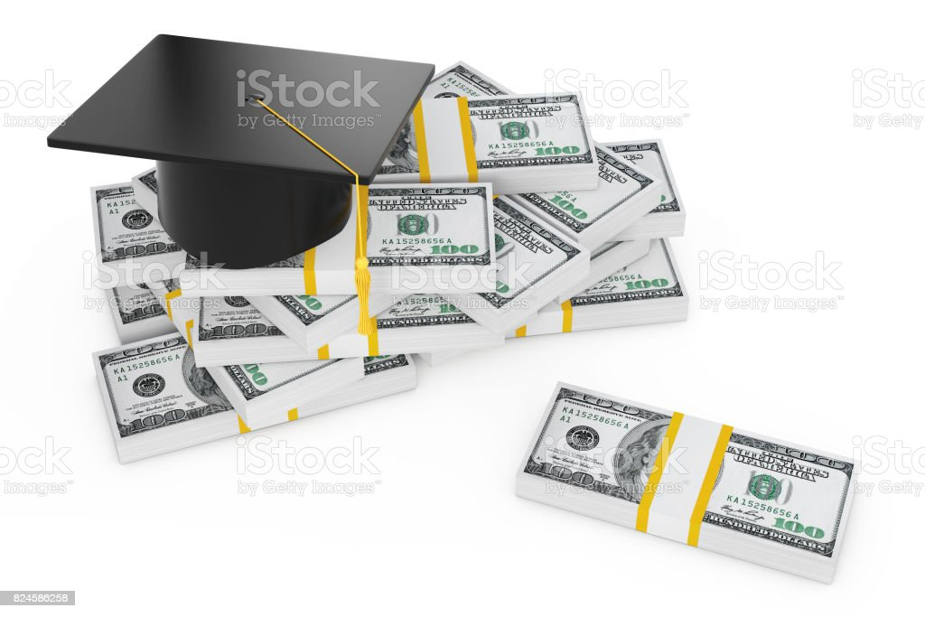Graduation Cap and Pile of Dollars. 3d Rendering stock photo