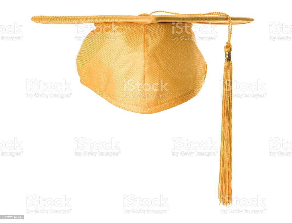 Graduation cap - gold stock photo