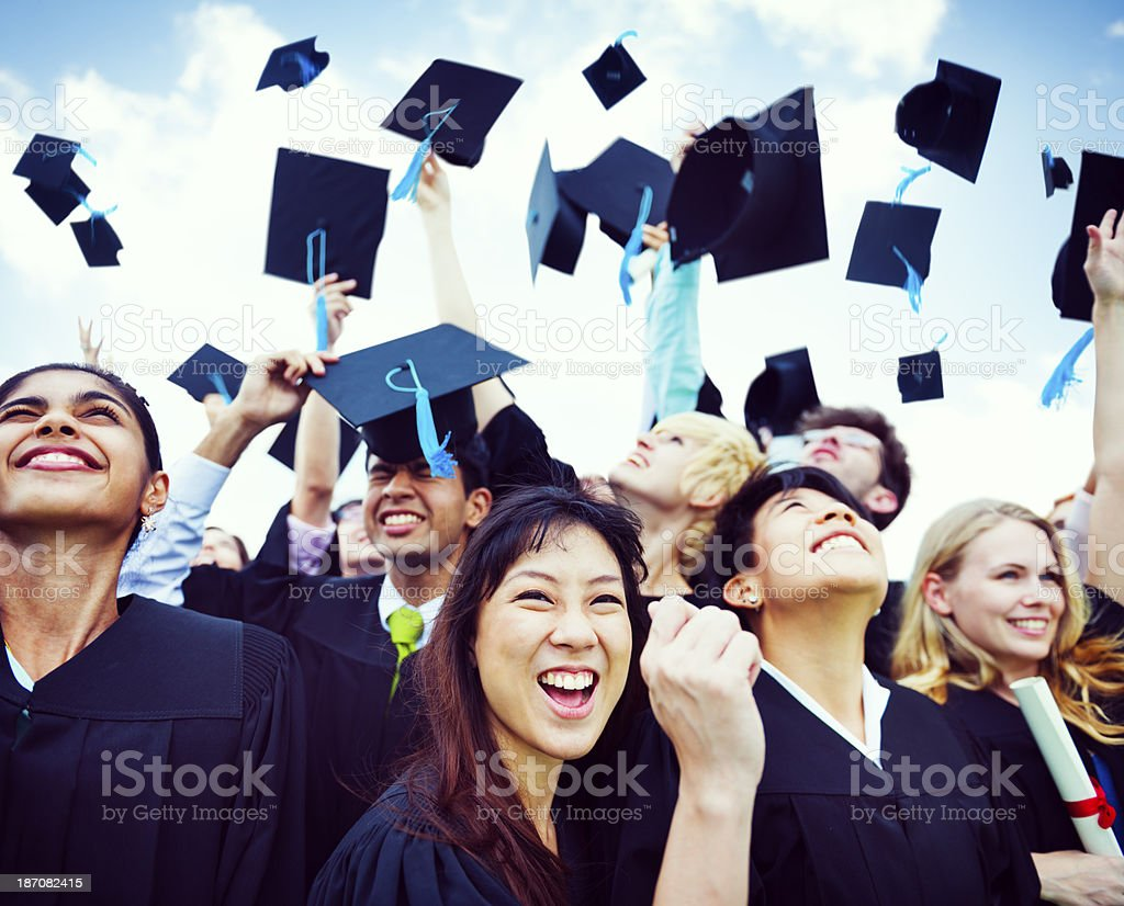 Graduation Caps Thrown in the Air stock photo