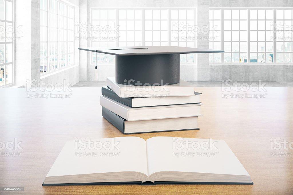 Graduation concept concrete interior stock photo