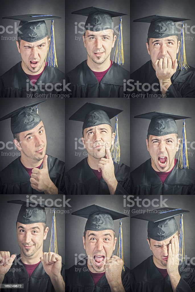 Graduation Facial Expressions royalty-free stock photo
