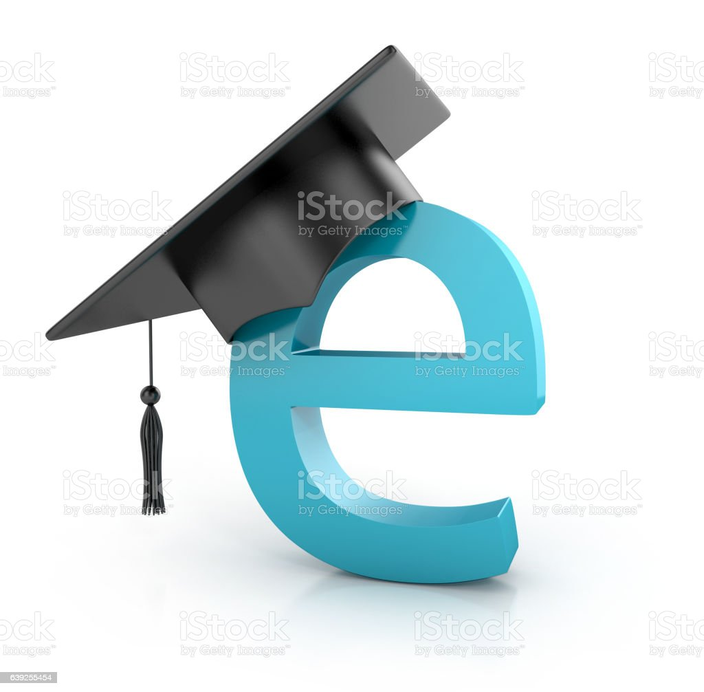 Graduation hat on e. e -learning concept. stock photo