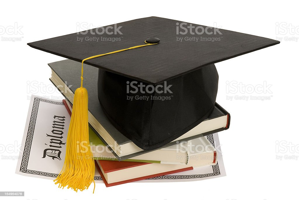 Graduation Hat with Books and Diploma stock photo