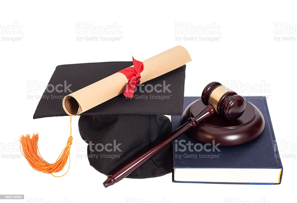 Graduation Hat with Diploma,Judge gavel and book stock photo