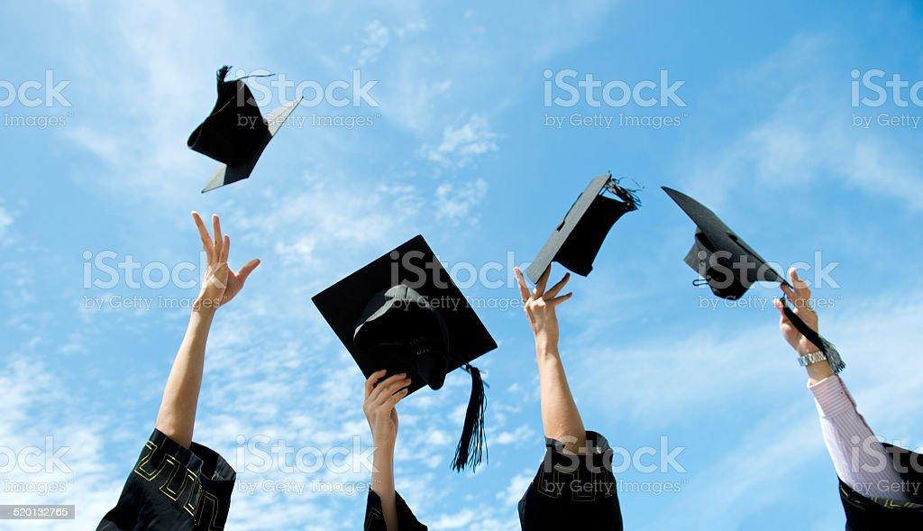 graduation hats stock photo