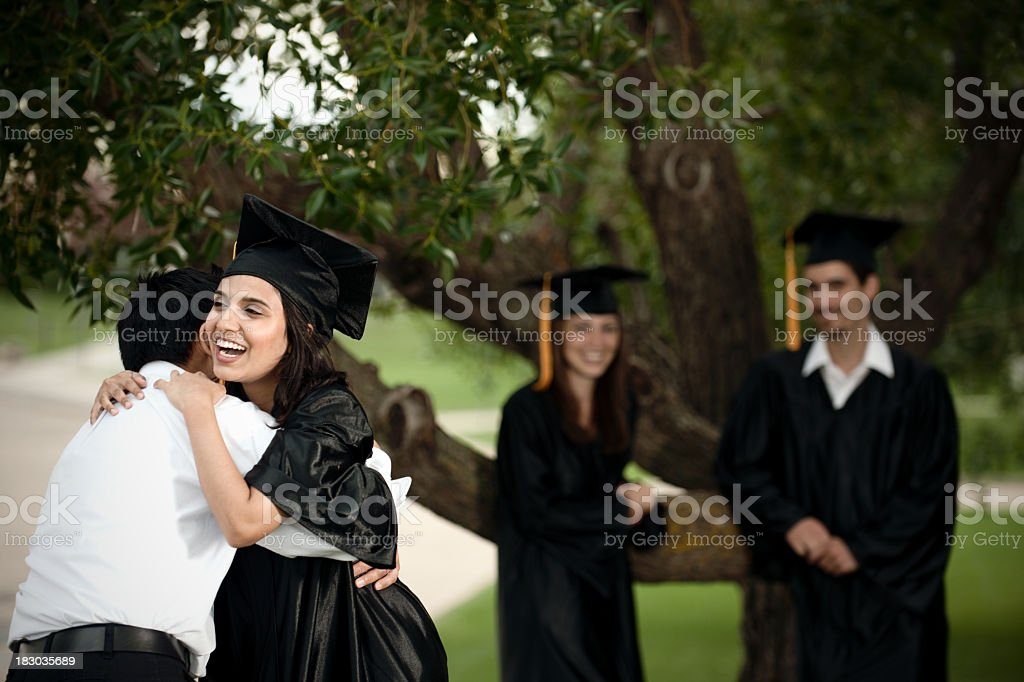 Graduation hug royalty-free stock photo