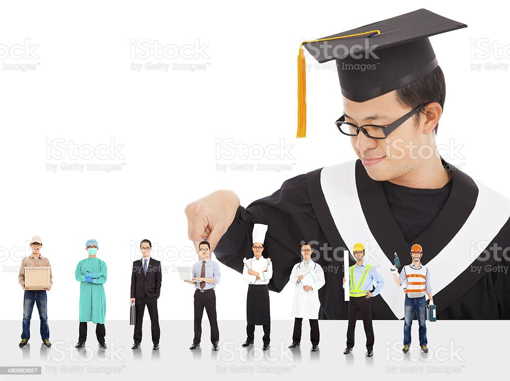 Graduation male student have different  careers to choose. stock photo