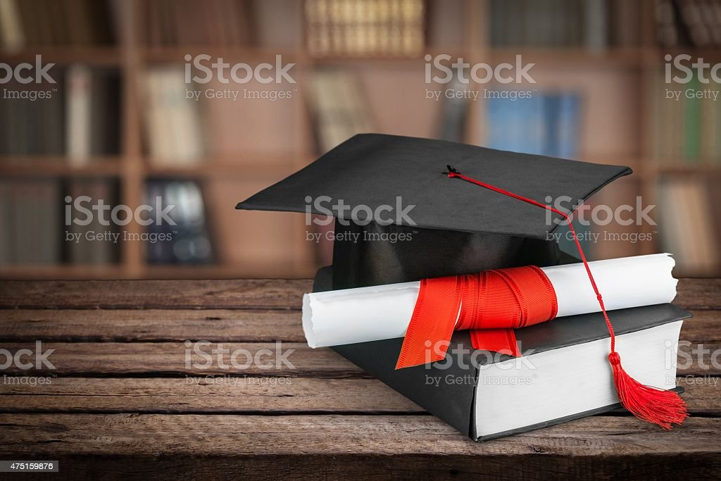 Graduation, Mortar Board, Diploma stock photo