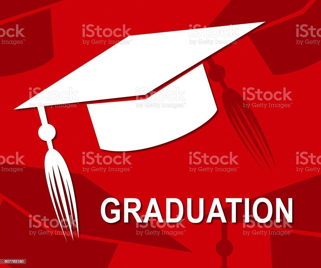 Graduation Mortarboard Represents Ceremony Uni And Graduated stock photo
