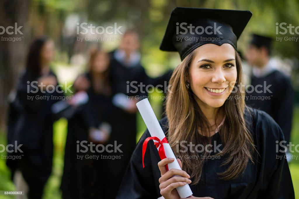 Graduation woman stock photo