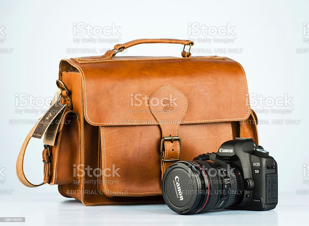 Grafea Camera Bag and Canon 5D MKII stock photo