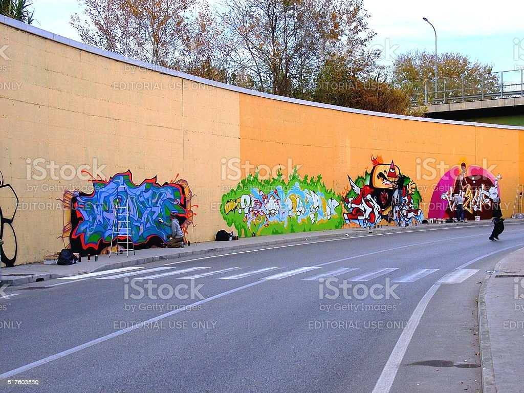 Graffitari a Benevento stock photo