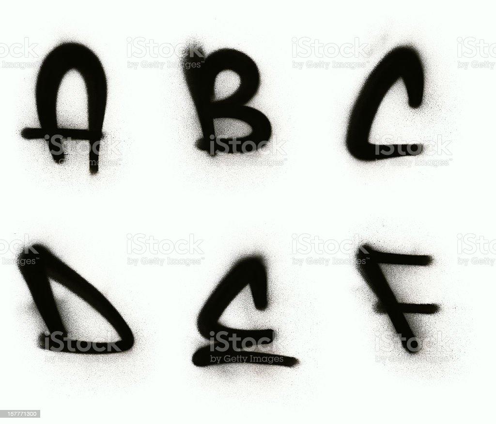 Graffiti alphabet A - F stock photo