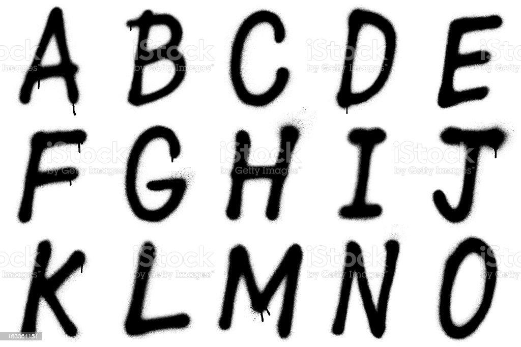 Graffiti alphabet A–O stock photo