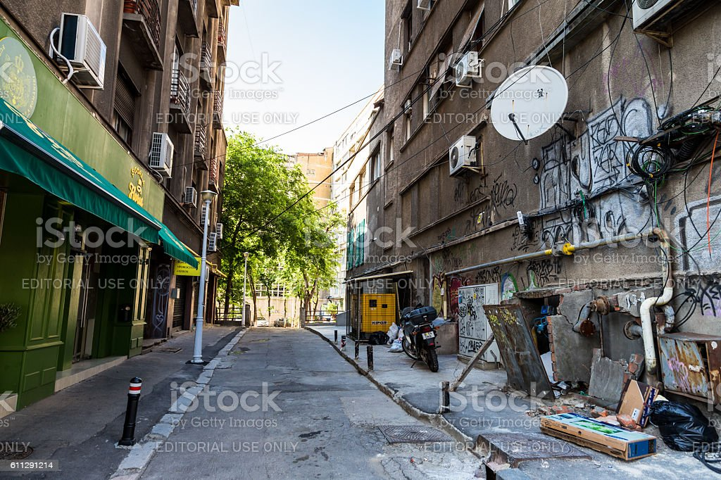 Graffiti and electric cables in poor neighbourhood of Bucharest, Romania stock photo