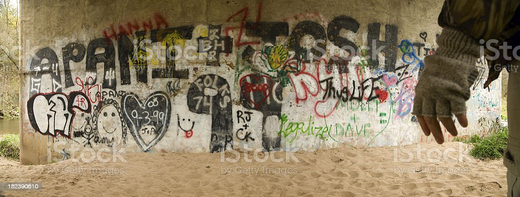 Graffiti art on bridge. royalty-free stock photo