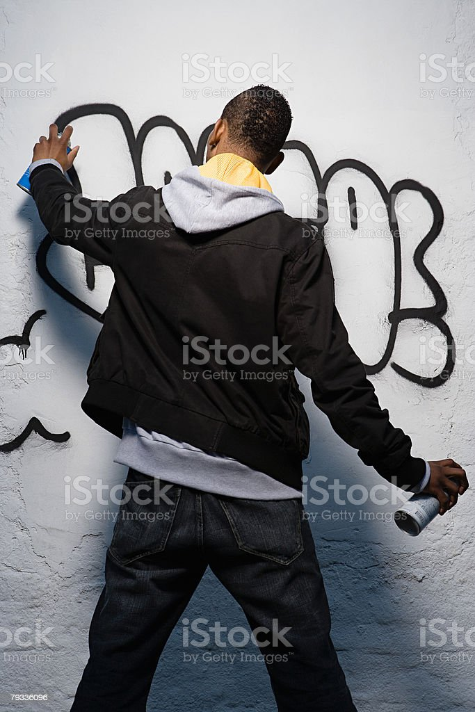 Graffiti artist stock photo