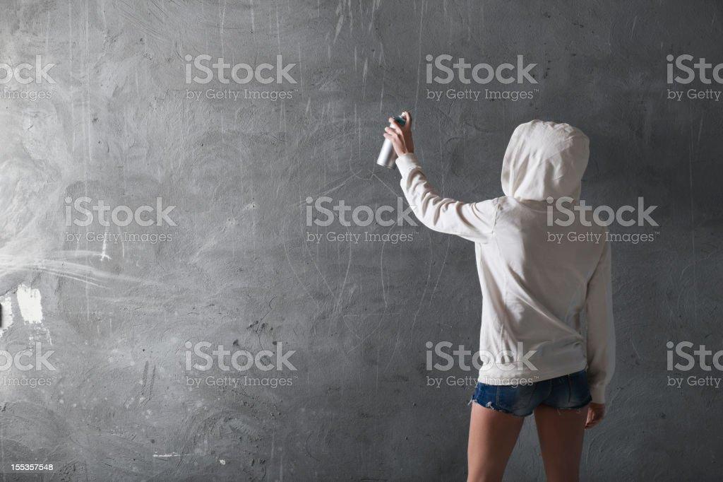 Graffiti artist with copyspace stock photo