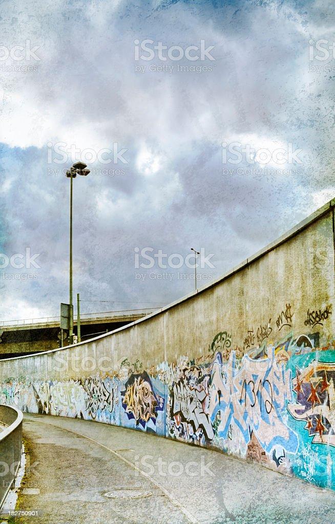 Graffiti beside highway royalty-free stock photo