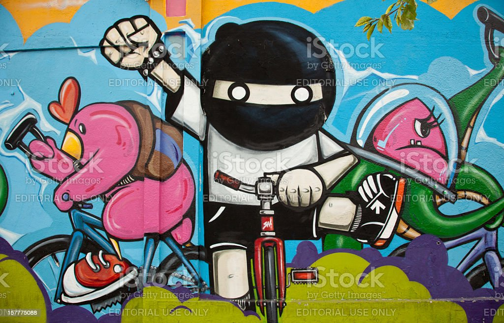 Graffiti Bikers stock photo