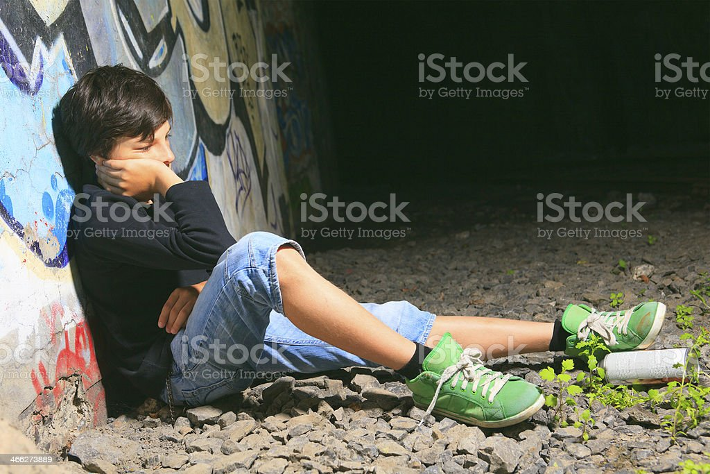 Graffiti Boy - Sadness royalty-free stock photo