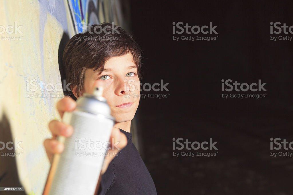 Graffiti Boy - Spay and Dark royalty-free stock photo