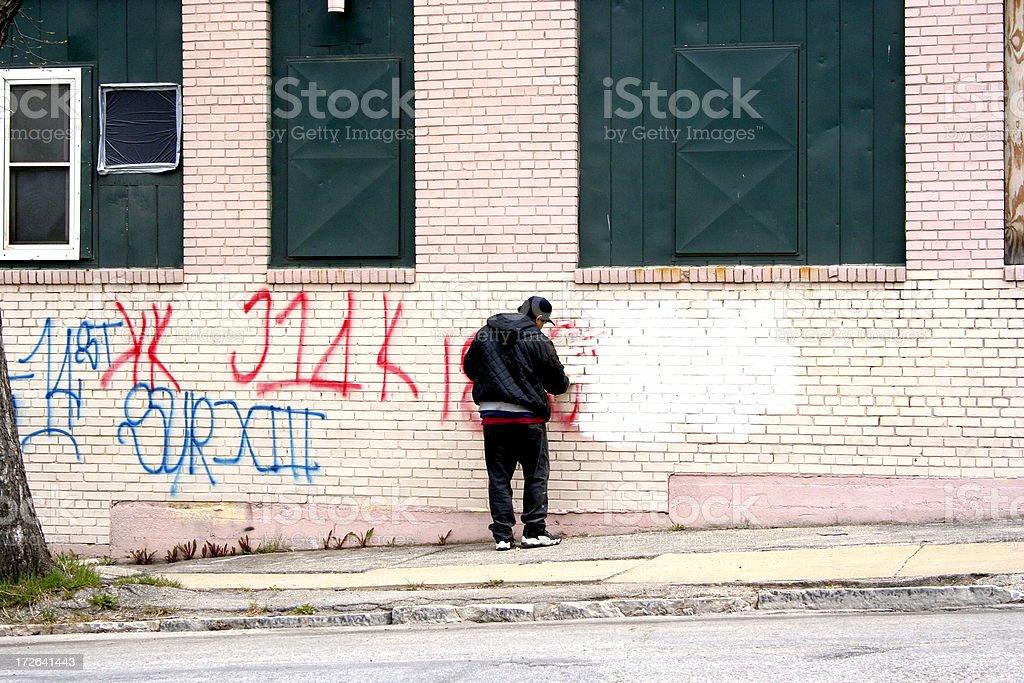Graffiti clean up stock photo