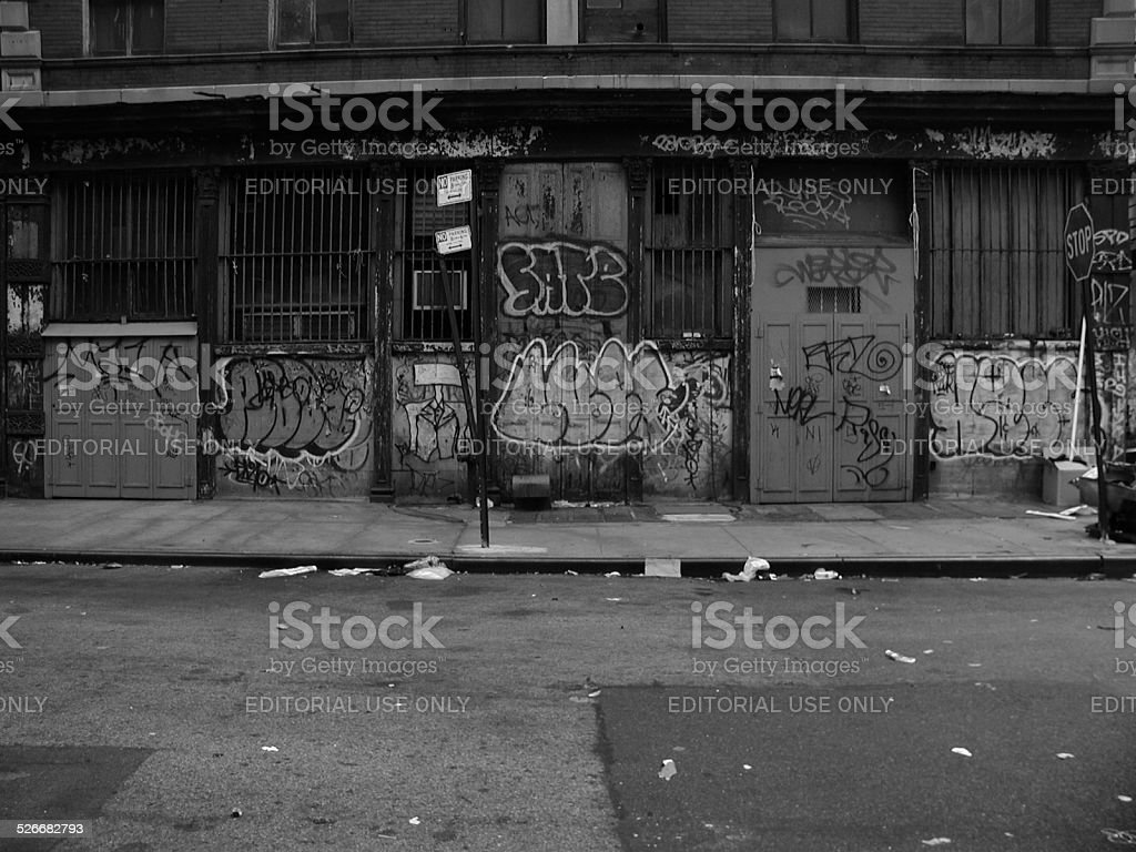 Graffiti Covered Constable Building 53 Howard ST SOHO NYC 2002 stock photo