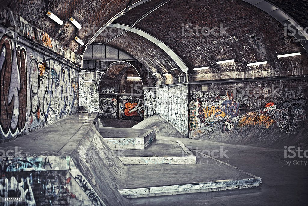 Graffiti covered skatepark. stock photo